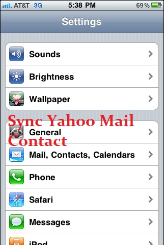 Sync Yahoo Mail Contact in iPhone