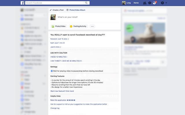 scroll down facebook stop