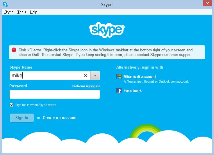 disk i/o error in Skype